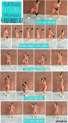 Kettlebell Workout - Fitness World Fitness Workouts, Full Body Kettlebell Workout, Sport Fitness, At Home Workouts, Fitness Tips, Fitness Motivation, Health Fitness, Kettlebell Circuit, Kettlebell Challenge
