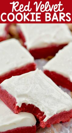 These Red Velvet Bars are decadent, delicious, and topped with the best cream cheese frosting! If you love red velvet cake, then these red velvet sugar cookie bars are the thing for you! Sugar Cookie Bars, Sugar Cookies Recipe, Cookie Recipes, Dessert Recipes, Bar Recipes, Baking Recipes, Recipies, Cookie Desserts, Sweet Recipes
