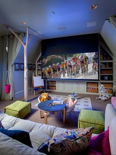 Basement media room playroom. Versatil basement area with media room and…