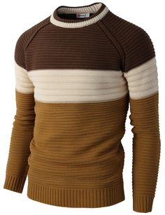 H2H Mens Casual Slim Fit Pullover Lightweight Thin Fabric Sweaters Stripe…