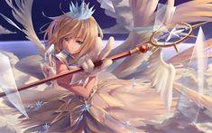 Download imagens Card Captor Sakura, personagem principal, arte, retrato, vestido branco, Sakura Kinomoto
