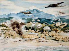 German paratroopers landing at Galatás, Crete: Peter McIntyre