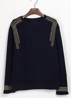 To find out about the Black Long Sleeve Navy Embroidery Sweatshirt at SHEIN, part of our latest Sweatshirts ready to shop online today! Fashion Details, Diy Fashion, Belle Silhouette, Do It Yourself Fashion, Embroidered Sweatshirts, Mode Inspiration, Refashion, Diy Clothes, Knitwear