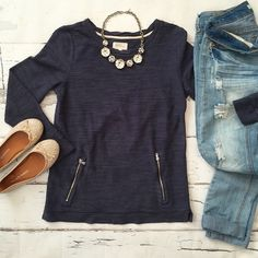 LOFT Lou & Grey Sweatshirt Ribbed sweatshirt with zipper front detail. LOFT Tops Sweatshirts & Hoodies