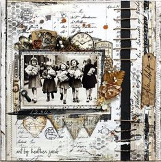FRIENDSHIP | 2Crafty June 2013 | Heather Jacob | Flickr Scrapbooking Vintage, Mixed Media Scrapbooking, Scrapbook Paper Crafts, Scrapbook Cards, Scrapbook Photos, Digital Scrapbooking, Heritage Scrapbook Pages, Scrapbook Page Layouts, Layout Inspiration