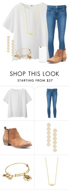 """""""open water swim"""" by marthaswilliams ❤ liked on Polyvore featuring Uniqlo, Frame Denim, Sole Society, Alex and Ani and Jennifer Meyer Jewelry"""