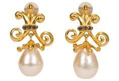 Karl Lagerfeld Gold Pearl Drop Earrings