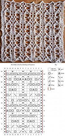 Lace Knitting Stitches, Crochet Stitches Patterns, Knitting Charts, Lace Patterns, Stitch Patterns, Knitting Projects, Knit Crochet, Knit Lace, Couture