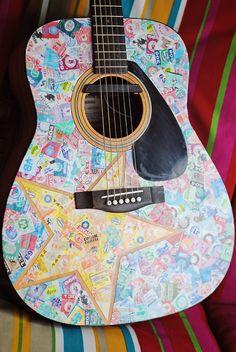 Put old concert tickets on a guitar Concert Ticket Display, Concert Tickets, Guitar Crafts, Guitar Diy, Guitar Decorations, Guitar Shelf, Western Rooms, Guitar Design, Cute Crafts