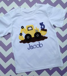 This is the perfect shirt for little boy to wear for his upcoming construction birthday party!! I can do this design on a onesie also. I can