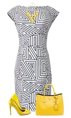A fashion look from August 2015 featuring geometric print dress, patent leather pumps and prada tote. Browse and shop related looks. Church Fashion, Work Fashion, Fashion Outfits, Womens Fashion, Classy Outfits, Stylish Outfits, Yellow Heels, Work Attire, Colorful Fashion