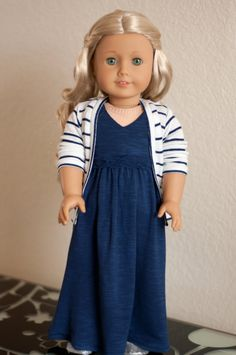Doll Clothes: Long White and Navy Striped Cardigan for an American Girl Doll or other 18 Inch Dolls