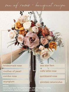 desert-boho-wedding-bouquet wedding flowers bouquet recipe: muted desert tones — SEA OF ROSES Boho Wedding Bouquet, Wedding Flower Guide, Floral Wedding, Wedding Colors, Boho Wedding Flowers, Wedding Events, Our Wedding, Dream Wedding, Wedding Table