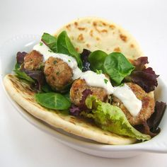 One Perfect Bite: Turkey Meatballs with Lemon-Garlic Yogurt Sauce - Serve as an Appetizer or Sandwich...either way, they are GREAT!!!