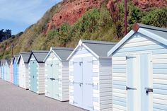 The Axe Valley, Seaton Bay and tramway Beach Hut Shed, Beach Hut Decor, Beach Huts Art, Pool Shed, Beach House, Seaside Garden, Seaside Beach, Painted Garden Sheds, Beach Hut Interior