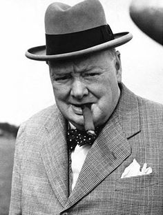 Winston Churchill with his famous cigar