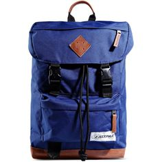 Eastpak Rucksack ($110) ❤ liked on Polyvore featuring bags, backpacks, blue, genuine leather backpack, eastpak bags, blue leather bag, leather rucksack and logo bags