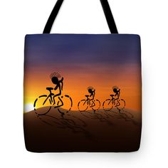 "#Kokopelli Sunset Riders Tote Bag   (18"" x 18"").  The tote bag is machine washable, available in three different sizes, and includes a black strap for easy carrying on your shoulder.   #FineArtAmerica #Gravityx9"