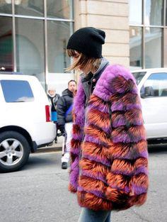 New York Fashion Week Street Style — Fall 2012 Edition (Updated! New York Fashion Week Street Style, Autumn Street Style, Fur Fashion, Autumn Fashion, Sporty Fashion, Fashion Women, Fashion Trends, Colorful Fur Coat, Mode Statements