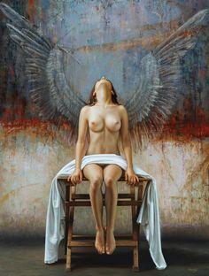 Hyper-Realistic Paintings by Omar Ortiz pics) Painting Tattoo, Painting & Drawing, Hyper Realistic Paintings, Drawn Art, Ange Demon, Mexican Artists, Realism Art, Figure Painting, Erotic Art