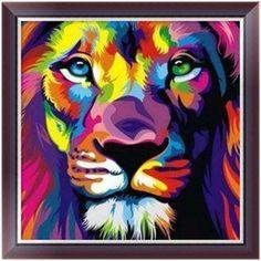 DIY 5D Diamonds Painting Lion Round full Diamond Embroidery Cross Stitch Kits Diamond Mosaic Home decor 25*25cm W215