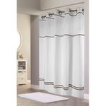 Escape Hookless Fabric Shower Curtain with Chrome Rings and Snap-In Liner - White with Brown Stripe