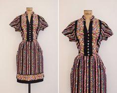 1960s Dress  Vintage 60s Black Floral Dress  by GoldenCraneVintage
