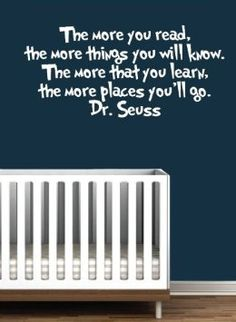 Dr Seuss Quote Vinyl Wall Decal-White-The More You Read Book Saying Quote Decal Nursery Decor-Dr Seuss Quote Vinyl Wall Decal-White-The More...