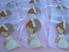 First Communion, baptism, confirmation Little Girl party favor bags 10 pieces. $25.00, via Etsy/ cake topper