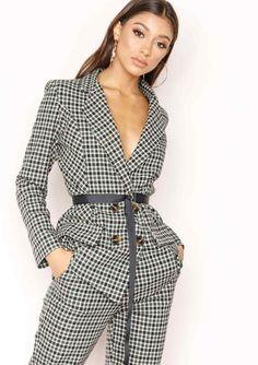 80860bef Missyempire - Alanis Green Checked Blazer Checked Blazer, Vest Coat, Blazer  Outfits, Check
