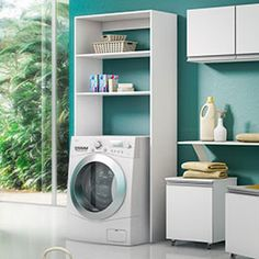 Coluna para lavadoras e secadoras. Moderna e prática. Você pode deixar produtos de limpeza à mão e acomodar utensílios usados em sua lavanderia, facilitando seu dia a dia.
