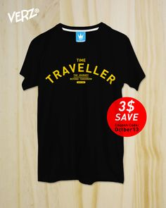 "New ""Time Traveller"" ,Black Tshirt, Typography,Men Clothing,Unisex,Graphic tee,rock Tshirt,Tumblr shirt by TheOctober13 on Etsy"