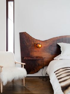 modern mountain house tour bedroom with live edge headboard | coco+kelley