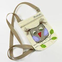 Small Crossbody Bag - Canvas Messenger Bag - Messenger Bag Purse - Owl Bag