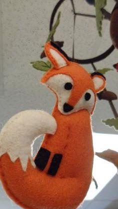 Felt fox ornament for Jess Felt Christmas Decorations, Christmas Crafts, Christmas Ornaments, Handmade Christmas, Christmas Tree, Fox Crafts, Felt Crafts Diy, Fox Ornaments, Fox Toys