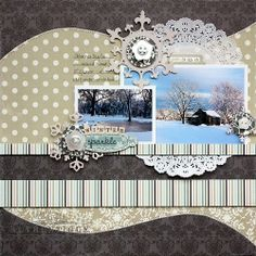 Papered Cottage: Winter Sparkle Layout with @Authentique Paper Glistening Collection by Shellye McDaniel #scrapbooking #layout #winter