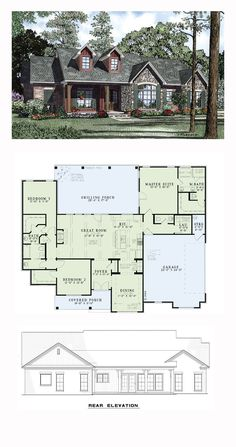 Craftsman House Plan 61297 | Total Living Area: 1960 sq. ft., 3 bedrooms and 2.5 bathrooms. #craftsmanhome