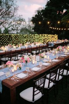 pretty tablescape + twinkling lights