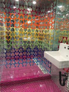 Rainbow hears mirror and glass custom colorful contemporary mosaic by tile backsplash by Tile art designer Allison Eden