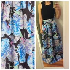 Watercolor floral pleated ball gown skirt Gorgeous colors!  Absolutely love this dress but ended up wearing something else for the event I purchased this for.  NWT MSRP $188.  Re-Posh, priced to make back what I originally paid.  Price firm even if bundled.  Only listing this until I find an event to wear it to  Eliza J Skirts Maxi