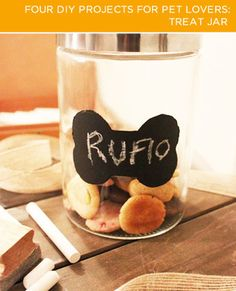 Chalkboard paint #DIY treat jars for your pets! #animal #DIY #cats #dogs #home #love #pets #Malta #socialmedia HAVE YOUR SOCIAL MEDIA PROFILES LOOK LIKE MINE www.ICanDoThings.com