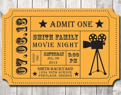 Movie Night Party Invitation- DIY- Digital File- Printable- Admission Movie Ticket- Ticket Invitation- Movie Night