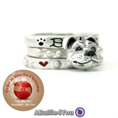 Staffordshire Bull Terrier Dog Stack Ring 925 Sterling Silver - Ideal Christmas Gift by ABullie4You on Etsy (null)