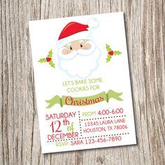Cookies For Santa, Christmas Invitation, Winter, Christmas, Card, Party, Digital, Birthday, Cookies Invitation, Holiday, Invitation