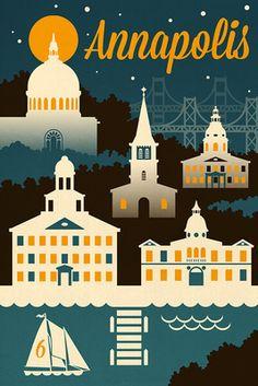Annapolis, Maryland - Retro Skyline - Lantern Press Artwork