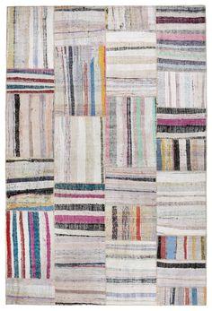 79 x 55 Inces Vintage Patchwork Rag Rug Multicolor Handwoven Cotton Rag Rug. $425.00, via Etsy.