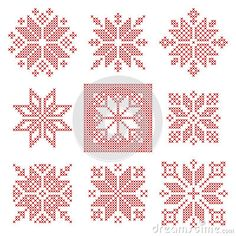 Nine cross stitch snowflakes pattern, Scandinavian style