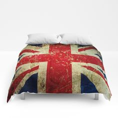 Scratched, aged, vintage-effect, grungy Union Jack comforter by itsjensworld at Society6. Same design available on other products. #britishflag #unionjack #grunge #dormroomdecor #britishpunk #itsjensworld #society6 #bedroomdecor #boys