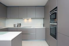 Matt grey handleless kitchen