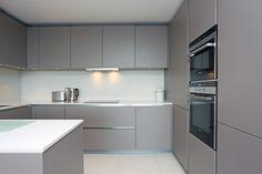 Matt grey handleless kitchen